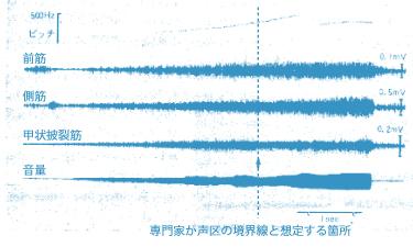 テノール歌手が母音「ア」にて3オクターブ上昇音階を発声した際の前筋、側筋、声帯筋の働き